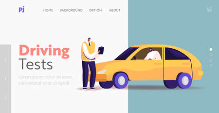 Male Character Pass Exam for Driver License Landing Page Template. Learner Driving Car with Tutor Writing in Clipboard
