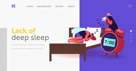 Deep Sleep, Dreaming or Nap Landing Page Template. Tiny Woman with Megaphone Wake Up Male Characters Sleeping