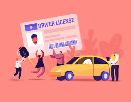 Characters Getting Driver License . Tiny Men and Women Studying in School with Instructor, Learning Drive Car, Pass Exam