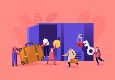 Male and Female Characters Use Luggage Storage Put Bags into Lockers in Airport or Supermarket. People r Keeping Baggage