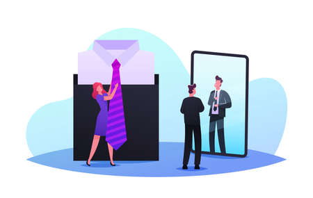 Man Choose Stylish Necktie. Saleswoman Help to Choose Tie to Businessman Stand front of Huge Mirror in Apparel Store