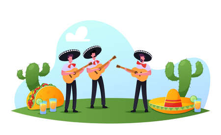 Cinco De Mayo Festival, Mexican Men in Colorful Costumes and Sombrero Playing Guitar Celebrating National Music Holiday Vetores
