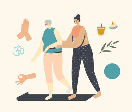 Female Trainer Help to Elderly Woman Start Yoga Lesson. Yoga Classes for Senior Characters Concept. Wellness in Old Ages