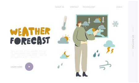 Meteorological Report Landing Page Template. Presenter Female Character Stand at Meteorology Map Forecast Weather 向量圖像
