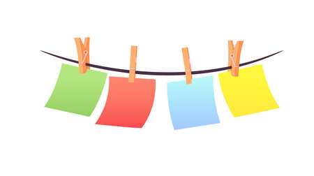 Set of Multicolored Pieces of Paper Hanging on Rope Pinned with Clothespins, Stationery Isolated on White Background
