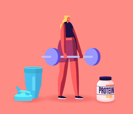 Sportswoman Character in Gym Pumping Muscles with Barbell and Protein Cocktail in Shaker. Sportive Nutrition, Activity Illustration
