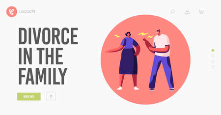 Family Fighting Landing Page Template. Angry Couple Characters Arguing Blaming Each Other. Frustrated Husband and Wife Çizim