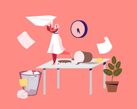 Tiny Businesswoman Character on Messy Workplace. Unorganized Office with Lazy and Unmotivated Worker at Desk