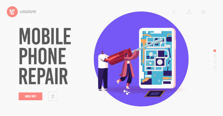 People Repair Giant Mobile Phone. Landing Page Template. Tiny Male and Female with Huge Screwdriver Fixing Smartphone Иллюстрация