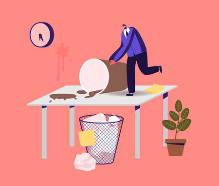 Chaos, Mess and Disorder at Workplace Concept. Tiny Businessman Character on Huge Table with Rubbish, Spilled Coffee