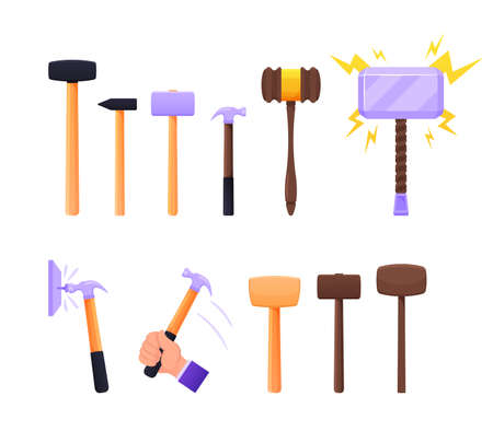 Set of Instruments Sledge Hammer, Wooden and Metal Mallet. Working Tools of Carpenter, Builder Handles Steel Base