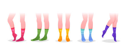 Set of Legs in Socks, Variety of Trendy Female Cotton Colorful Long Socks Design. Modern Collection for Special Occasion Иллюстрация