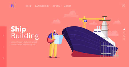 Ship Building and Manufacturing Industry, Shipbuilding Landing Page Template. Engineer Male Character Reading Scheme Иллюстрация