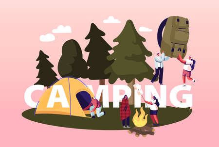 Camping Concept. Characters Spend Time at Summer Camp in Forest. Tourist Set Up Tent, Frying Marshmallow on Campfire