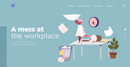 Problems with Organization Work Process Landing Page Template. Tiny Businesswoman Character on Messy Workplace