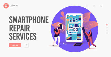 Digital Devices Maintenance Service Landing Page Template. Tiny Female Characters Repair Huge Smartphone Иллюстрация