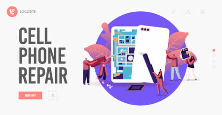 Tiny Male and Female Characters with Instruments Assembling or Repair Huge Smartphones Landing Page Template Фото со стока - 159420075
