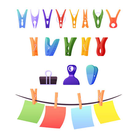 Set of Clothespins, Clips and Pegs. Paper Sheets Hanging on Rope. Plastic or Wooden Lineclamps, Binder for Documents