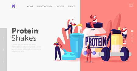 Bodybuilding Food Landing Page Template. Tiny Characters Drink Protein Cocktails from Shaker in Gym. Sportive Nutrition