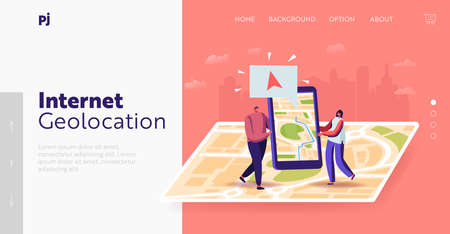 Characters Use Geolocation Positioning Landing Page Template. Tiny Man and Woman with Smartphone at Huge Map Search Way Фото со стока - 159420080