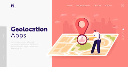 Satellite Geolocation Positioning Landing Page Template. Tiny Male Character with Magnifier at Huge Map Find Correct Way