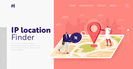 Tiny Characters Orienteering at Huge Paper Map Landing Page Template. Man with Compass Searching Way in Foreign City Иллюстрация