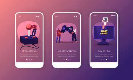 Online Video Games Mobile App Page Onboard Screen Template. Tiny Male and Female Characters with Huge Gamepad Иллюстрация