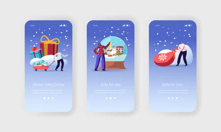 Online Xmas Gifts Mobile App Page Onboard Screen Template. Happy Tiny Characters Carry Present Boxes Wrapped with Bow