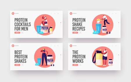 Fitness, Bodybuilding Landing Page Template Set. Tiny Characters Drink Protein Cocktails from Shaker in Gym, Nutrition