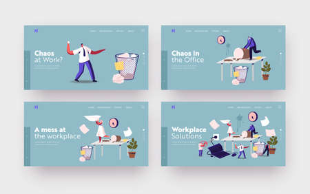 Anxious Business Characters in Chaos Workplace Landing Page Template Set. Deadline, Stressed Workers Hurry with Job Иллюстрация