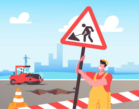 Roadwork and Asphalt Paving Concept. Worker Man Character in Orange Overall Set Up Warning Road Sign and Traffic Cones Иллюстрация