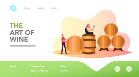 Wine Drink Tasting in Vineyard, Winery, Winemaking Landing Page Template. Tiny Man and Woman Characters in Vault