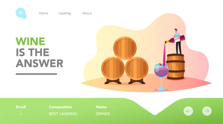 Wine Making Landing Page Template. Tiny Male Character Stand on Huge Barrel Pouring Wine in Glass. Tasting Wine at Vault