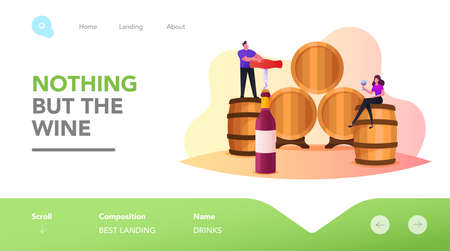 Characters Drinking Wine in Vault Landing Page Template. Tiny Man Open Huge Bottle with Corkscrew, Woman with Wineglass Иллюстрация