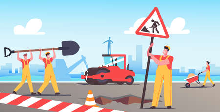 Road Repair with Construction Machines and Working Male Characters. Rolling Heavy Vehicles Making Asphalt Maintenance Иллюстрация