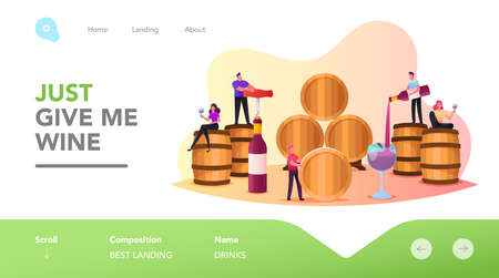 Characters Wine Degustation in Vault Landing Page Template. Tiny People Hold Wineglasses Tasting Alcohol Drink Иллюстрация