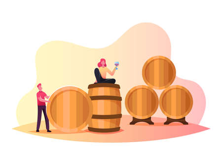 Tiny Man and Woman Characters in Vault, Man Roll Huge Wooden Barrels. Girl Hold Wineglass Drinking Red Wine in Winery