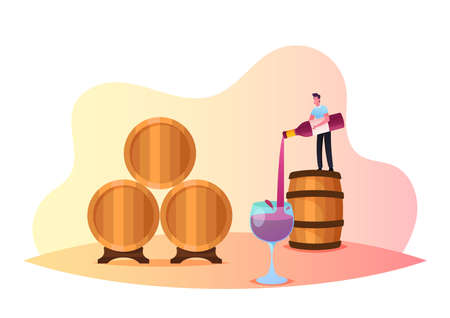 Tiny Male Character Stand on Huge Barrel Pouring Wine in Glass. Tasting Wine at Vault, Winemaking Batonnage, Maceration