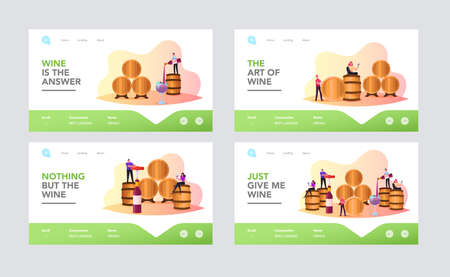 Characters Wine Degustation in Vault Landing Page Template Set. People Hold Wineglasses Tasting Alcohol Drink in Cellar