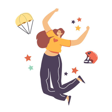 Happy Female Character Jumping with Skydiver Equipment Helmet and Parachute. Skydiving Parachuting Adrenaline Sport