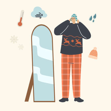 Man in Fashioned Dressing Choose Knitted Hats Stand front of Mirror for Walking Outdoor. Knit Things for Cold Weather Иллюстрация