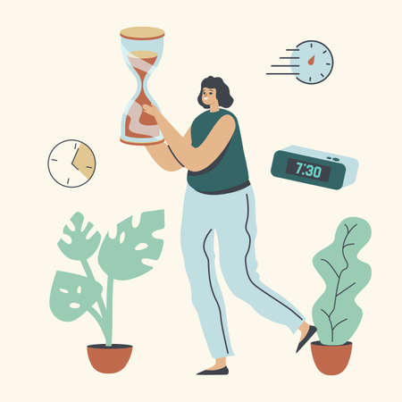 Businesswoman Character Carry Huge Hourglass, Time Management, Procrastination, Lack of Time, Work Productivity Concept