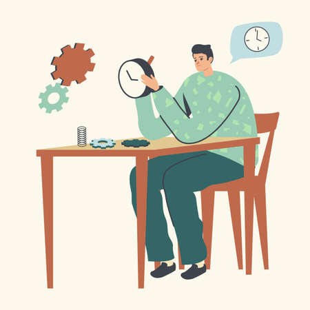 Watchmaker Character Repairing Mechanical Watches or Alarm Clock. Clockwork Service, Maintenance Concept. Master Work Illustration