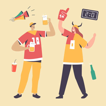 Happy Football Fans Cheering for Team Victory and Success. Male and Female Characters with Funny Attribution and Beer