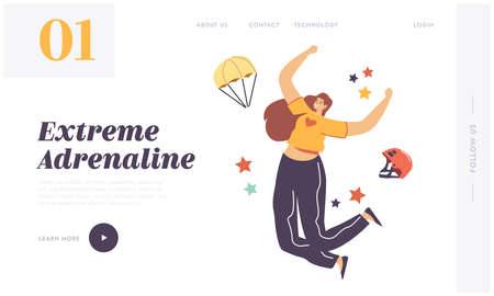 Adrenaline Sport. Parachutist Extreme Landing Page Template. Happy Female Character Jumping with Skydiver Equipment Illustration