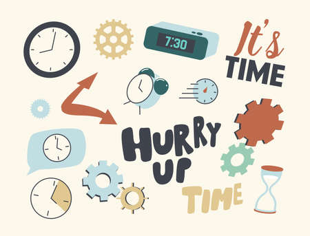 Set of Icons Clock and Time. Alarm Clock with Digital Dial, Cogwheels, Gears Mechanism Details and Watch with Hourglass