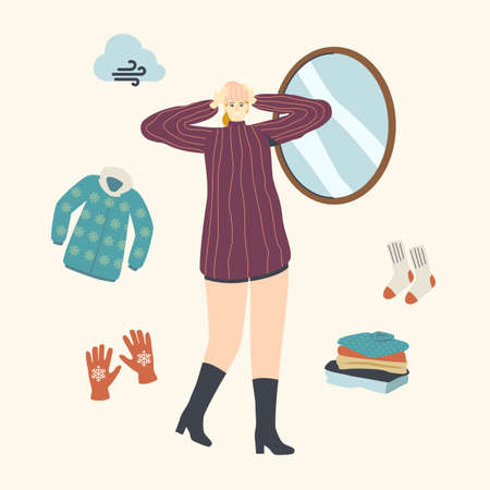 Female Character in Fashioned Warm Dressing Try On Knit Hat front of Mirror for Walking Outdoor. Handmade Knitted Things