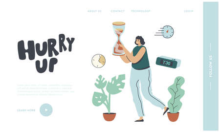 Business Working Process Organization Landing Page Template. Businesswoman Character Carry Huge Hourglass, Time Illustration