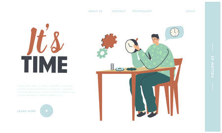 Watchmaker Character Repairing Watches or Clock Landing Page Template. Clockwork Service, Maintenance Concept