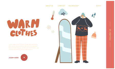Warm Clothes, Apparel Landing Page Template. Male Character in Fashioned Dressing Choose Knit Hats at Mirror for Outdoor